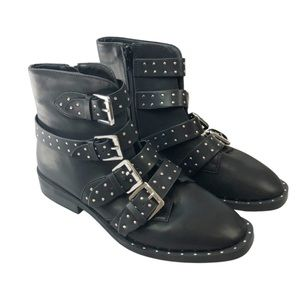Forever 21 Black Studded Buckle Ankle Boots